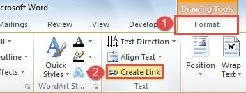 """Click """"Format"""" ->Click """"Create Link"""""""