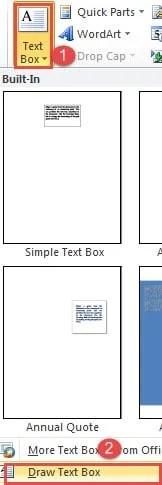 """Click """"Text Box"""" ->Click """"Draw Text Box"""""""