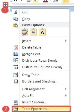 """Select Table ->Choose """"Table Properties"""""""