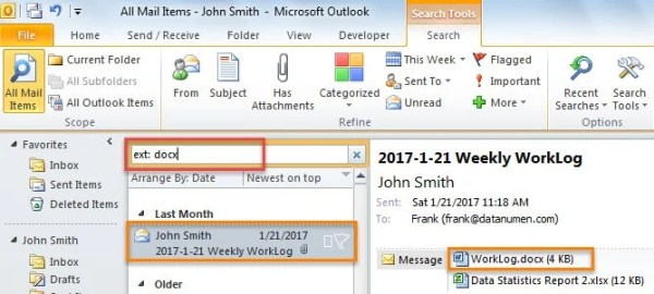 Find Email Attachments with One Specific File Type