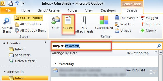 Search Emails with Specific Words in Subject