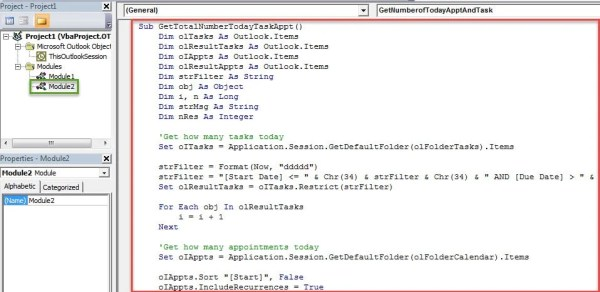 VBA Codes - Quickly Get the Total Number of Today's Tasks and Appointments