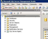 New Query Button On The SQL Server Management Studio