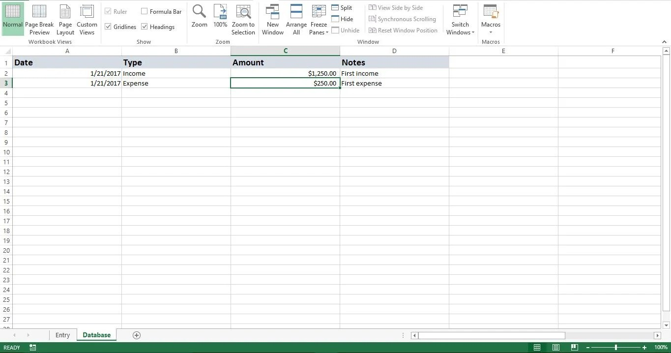 expense manager in excel