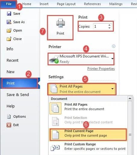 """Click """"File""""->Click """"Print""""->Enter Copy number->Choose Printer->Select """"Print Current Page""""->Click """"Print"""""""