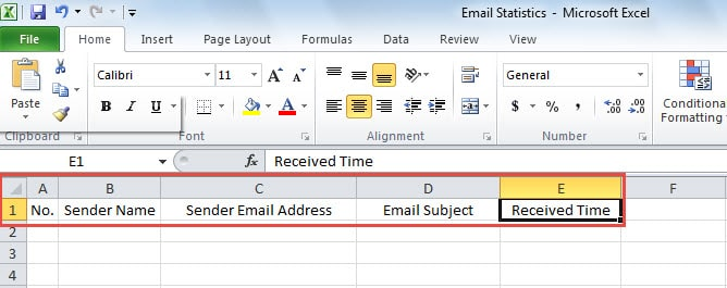 Create an Excel file