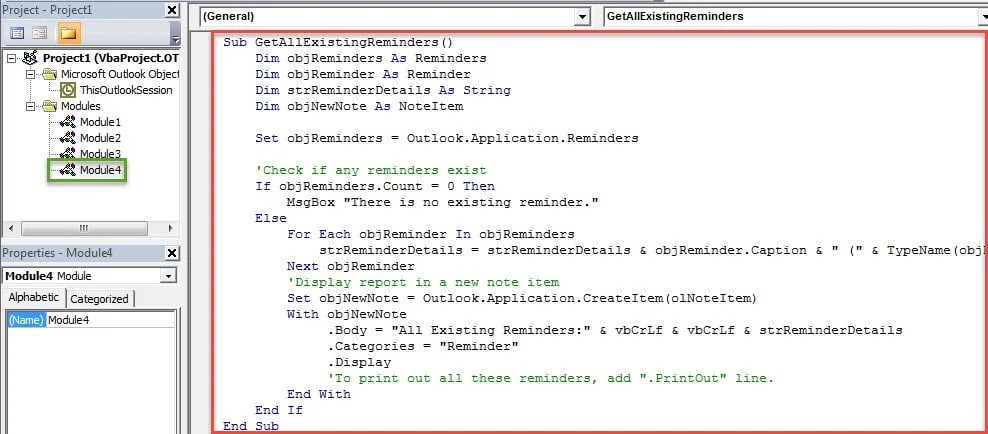VBA Codes - Get a List of All the Existing Reminders in Your Outlook