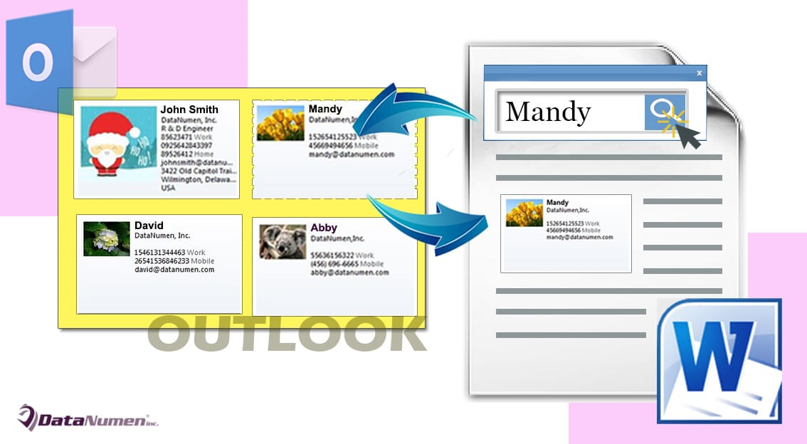 Insert the Business Card of a Specific Outlook Contact into Your Word Document