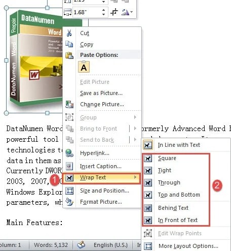 how to change wrapping style of picture in word