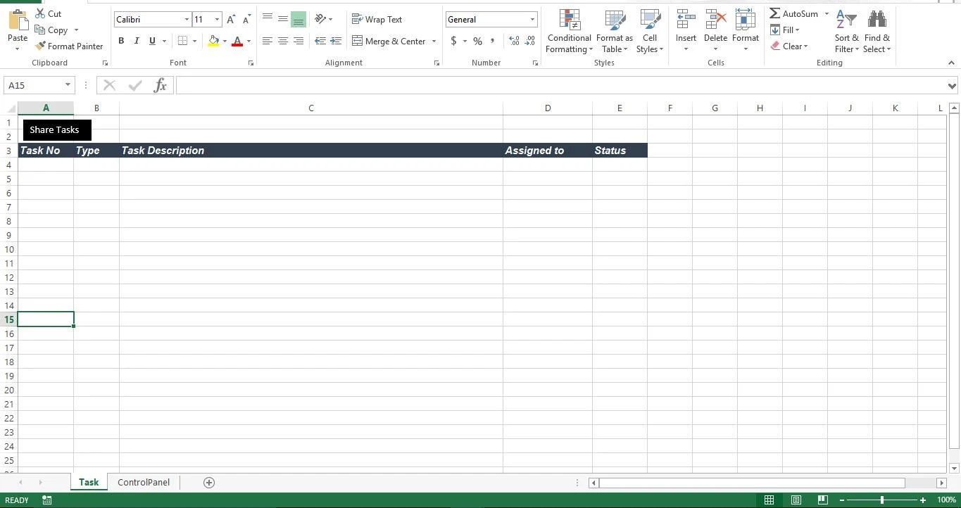 "Create Sheet1""Task"" And Sheet2 ""ControlPanel"""