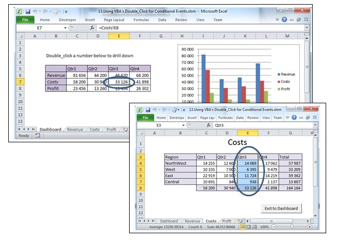 Double Clicking Costs For Qtr3 On The Summary Will Highlight That Specific Detail