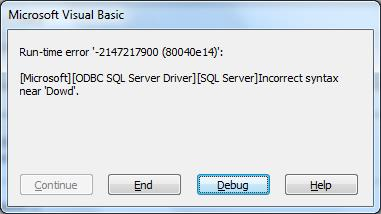 Error Returned From The Database Manager