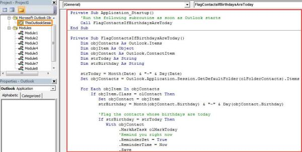 VBA Code - Auto Set Follow up Flag for a Contact and Pop up a Reminder When His Birthday is Today