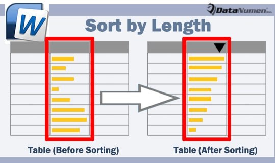 Sort a Column of Texts by Length