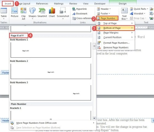 how to put page numbers on word document