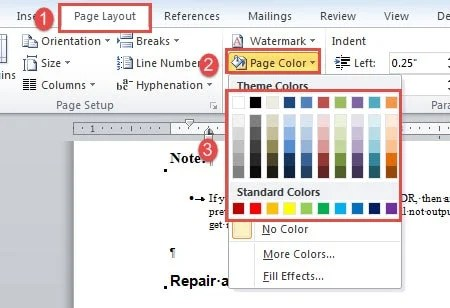 Click Page Layout Color Choose A