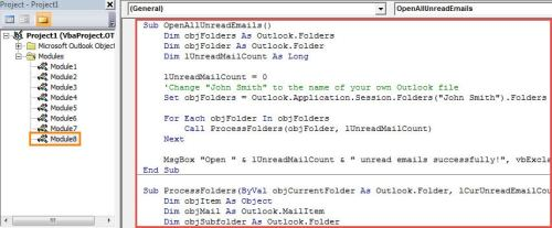 VBA Code - Batch Open All the Unread Emails in Your Outlook