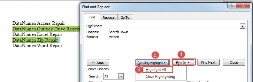 "Click ""Find In""->Click ""Reading Highlight""->Choose ""Highlight All"""