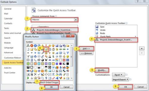 Add the new VBA project to the Quick Access Toolbar
