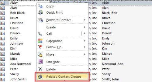 "Choose ""Related Contact Groups"" option"