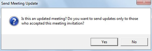 Message asking if send meeting updates only to who accepted this meeting