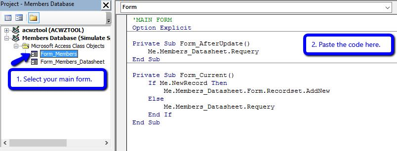 How to Create Your Own Split Form in Access using VBA - Data ...