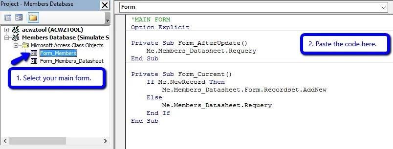 Access Vba Select Row Datasheet vba How to access selected record