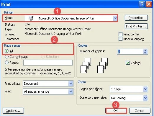 "Choose Printer->Select ""All"" for Page Range->Click ""OK"""