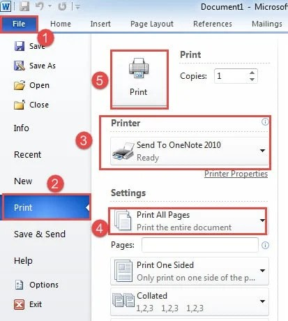 "Click ""File""->Click ""Print""->Choose ""Send to OneNote 2010"" Printer->Choose ""Print All Pages""->Click ""Print"""