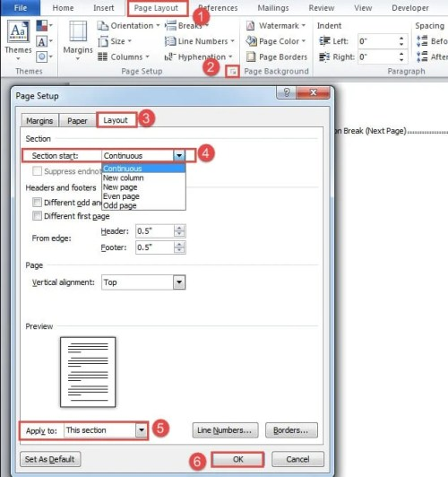 how to change sections in word document