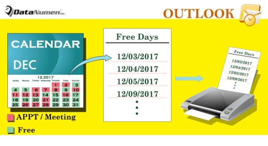 Quickly Print the List of Free Days for a Specific Month in Your Outlook Calendar