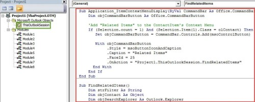 VBA Code - Find out All Outlook Items Related to a Specific Contact