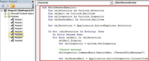 VBA Code - Batch Resend Multiple Emails