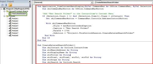 VBA Code - Create a Search Folder for a Specific Contact