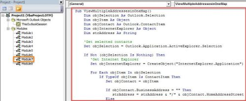 VBA Code - View Multiple Contacts' Addresses on the Same Map