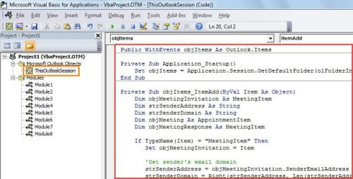 VBA Code - Auto Decline Meeting Invitations from Those Outside Your Domain