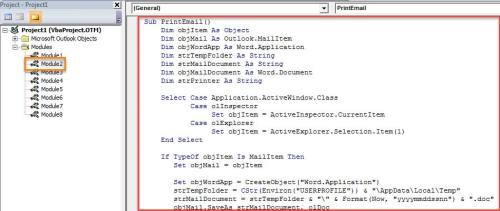 VBA Code - Auto Use a Specific Printer to Print Outlook Emails