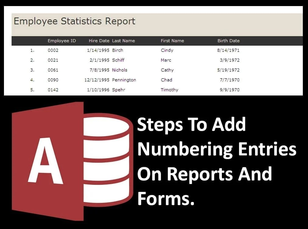Steps To Add Numbering Entries In Reports And Forms