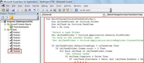 VBA Code - Batch Change All Overdue Tasks' Due Dates to Today