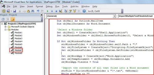 VBA Code - Merge & Import the Contents of Multiple Text Files into an Email