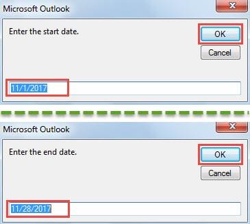 Input Start & End Date