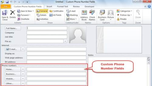 New Contact with Custom Phone Number Fields