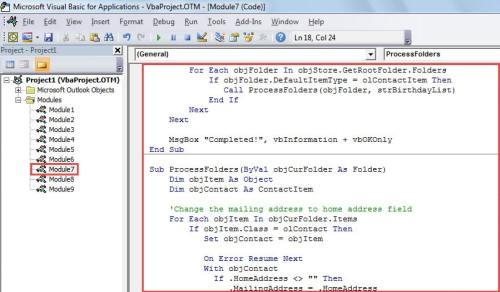 VBA Code - Batch Set a Specific Type of Address as the Mailing Address for All Contacts