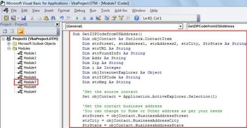 VBA Code - Get the ZIP Code for the Address of a Contact