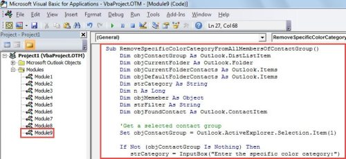 VBA Code - Remove a Specific Color Category from All Members of a Contact Group