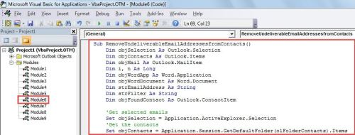 VBA Code - Remove the Invalid Recipient Addresses of Undeliverable Emails from Contacts