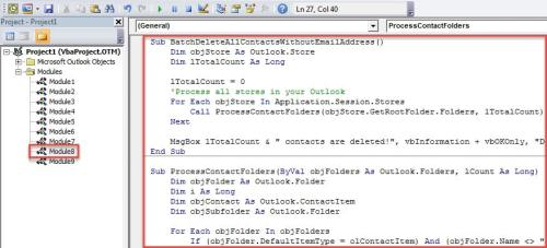 VBA Code - Batch Delete All Contacts without Email Address