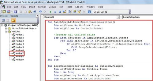 VBA Code - Batch Open All Today's Meetings