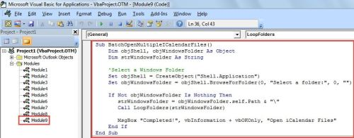 VBA Code - Batch Open Multiple iCalendar (.ics) Files