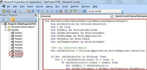 VBA Code - Batch Print All Tables of Multiple Emails